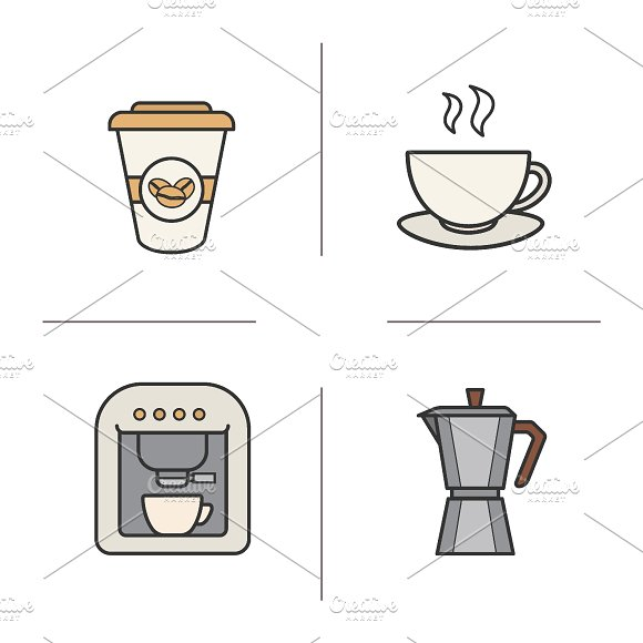 Coffee color icons. Vector - Icons