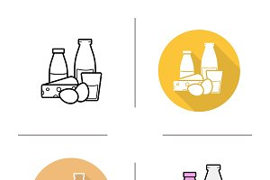 Dairy products icons. Vector