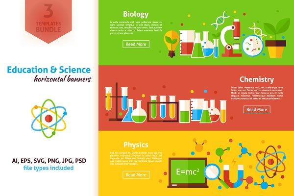 Science Education Horizontal Banners Pre Designed Photoshop Graphics Creative Market