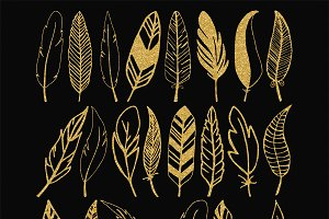 Gold glitter feathers clip art
