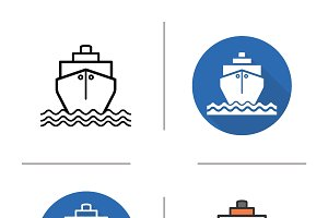Ship icons. Vector