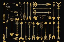 Gold glitter sketched arrows