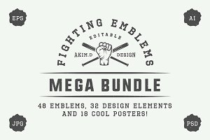 Set of vintage fighting emblems