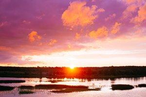 Landscape on sunset