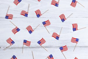 Mini USA Flags on white wood