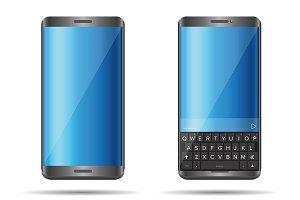 Smartphone with full keyboard vector
