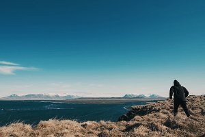 Iceland Fields and Ocean