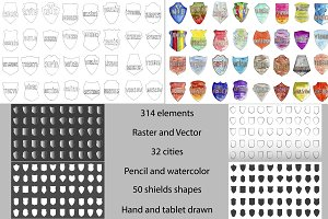 Set of shields (raster & vector)