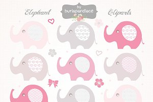 Baby girl elephant cliparts