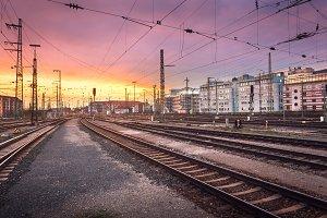 Railway Station at sunset