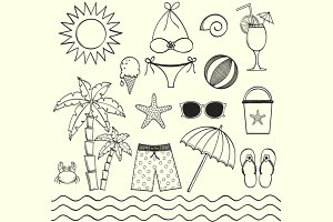 Hand Drawn Beach Clip Art