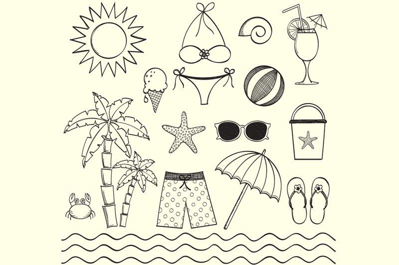 Hand Drawn Beach Clip Art Illustrations Creative Market