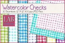 10 Watercolor Check Textures