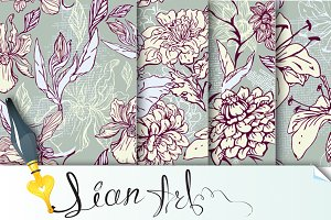Set of 4 Floral Seamless Patterns
