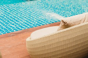 Relaxing Rattan Sofa At Swimming
