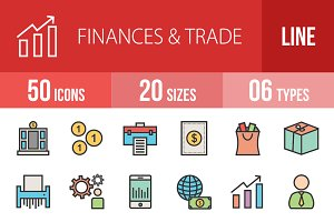 50 Finances Trade Line Filled Icons