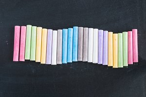 Colorful chalks lined up