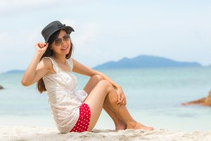 Portrait of Asian girl at beach