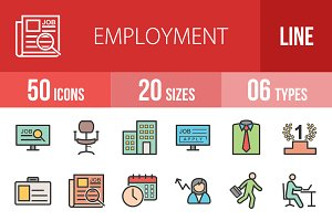 50 Employment Line Filled Icons