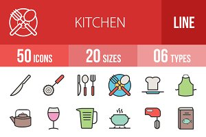 50 Kitchen Line Filled Icons