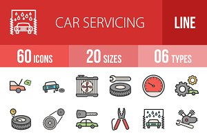 60 Car Servicing Line Filled Icons
