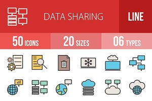 50 Data Sharing Line Filled Icons