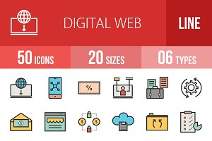 50 Digital Web Line Filled Icons