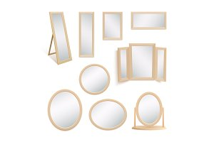 Set of mirrors isolated on white.