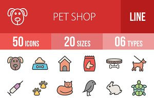 50 Pet Shop Line Filled Icons