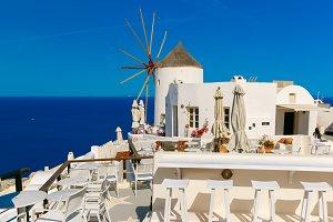 Windmill and white houses, Oia, Santorini, Greece