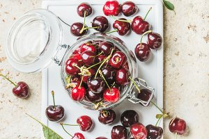 Sweet cherry in glass jar
