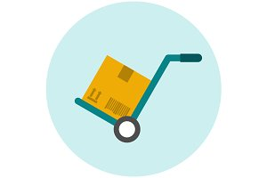 Hand truck flat icon