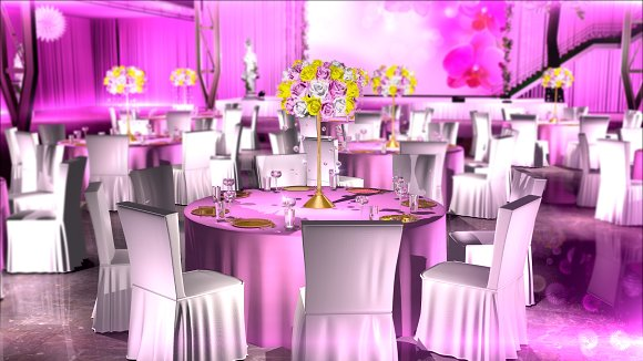Pink Flowers Event Decoration