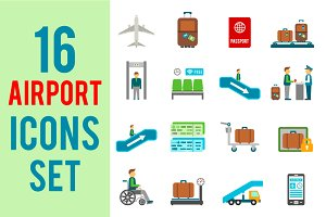 16 Airport Travel Icons Set