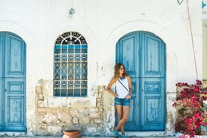 Woman at greek traditional town