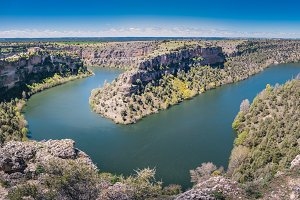 Horseshoe Bend meander of Duraton River in Hoces del Duraton, Segovia, Castilla y Leon, Spain