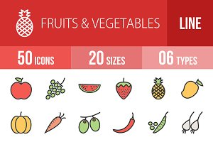 50 Fruit Vegetable Line Filled Icons