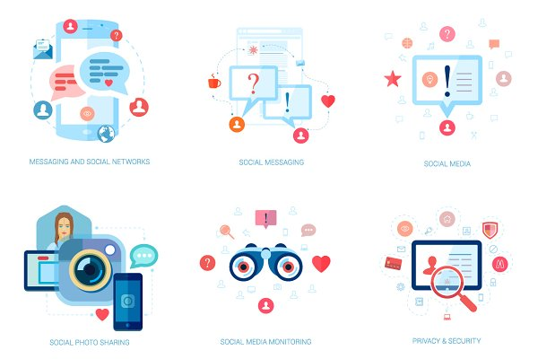 Flat Design Socialmedia Icons Pre Designed Illustrator Graphics Creative Market