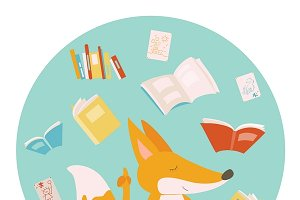 Cartoon fox with books
