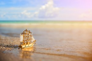 Sailing ship model on the beach