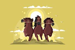 Three horses running