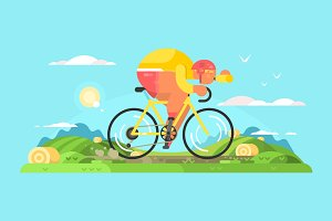 Cyclist sportsman on bike