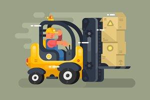Storekeeper loader flat design