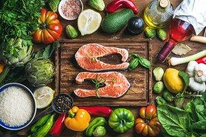 Raw uncooked salmon fish