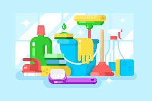 Cleaning tools and detergent