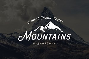 12 Hand Drawn Vector Mountains
