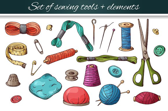 Set of sewing tools in Illustrations