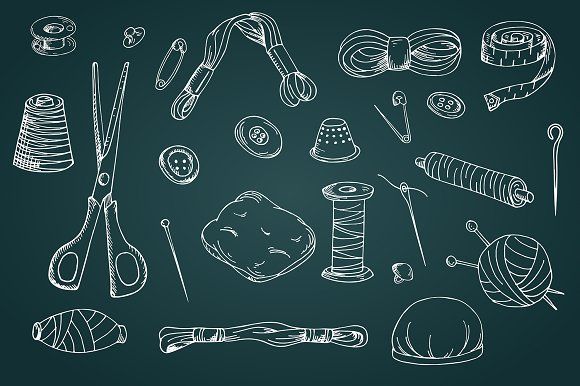 Set of sewing tools in Illustrations - product preview 1