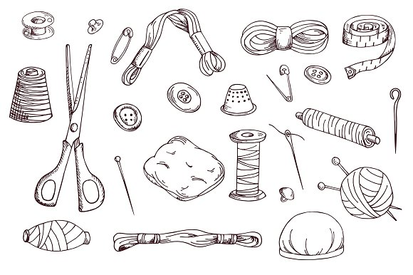 Set of sewing tools in Illustrations - product preview 3