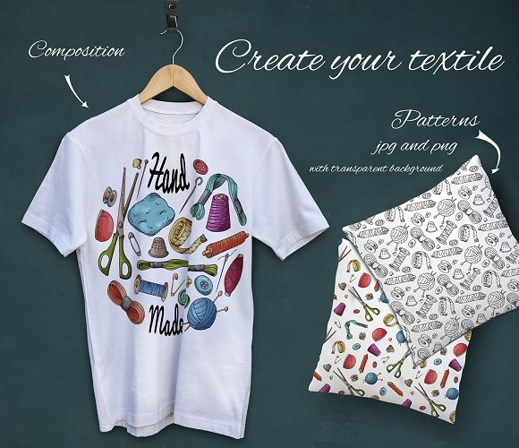 Set of sewing tools in Illustrations - product preview 4